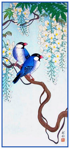 Japanese Artist Ohara Shoson's  Song Birds on Wisteria Counted Cross Stitch Pattern