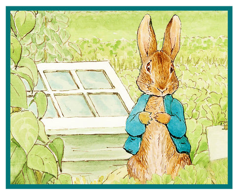 Peter in the Garden inspired by Beatrix Potter Counted Cross Stitch or Counted Needlepoint Pattern