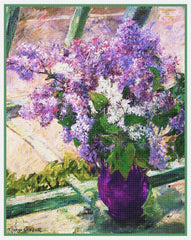 Lilac Flowers in the Window by American impressionist artist Mary Cassatt Counted Cross Stitch Pattern