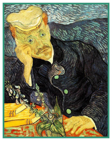 Portrait of DR. Gachet by Vincent Van Gogh Counted Cross Stitch or Counted Needlepoint Pattern