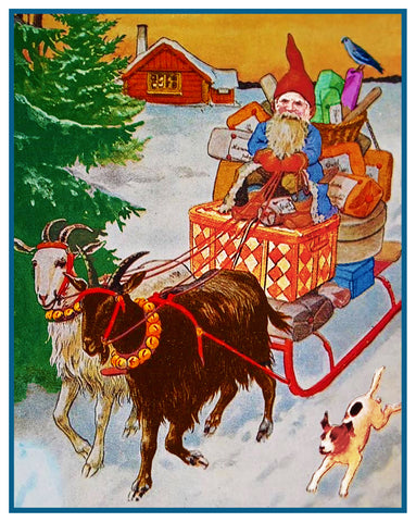 Elf Gnome Delivering Presents on Goat Sled Jenny Nystrom Holiday Christmas Counted Cross Stitch Pattern DIGITAL DOWNLOAD