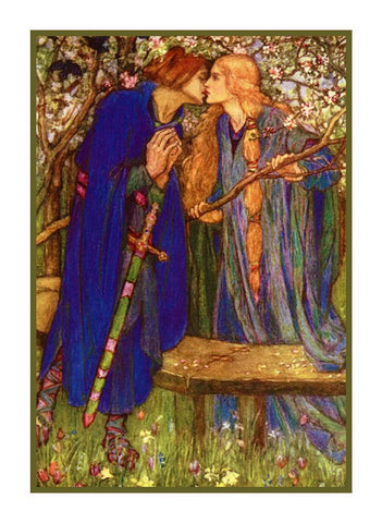 Pre Raphaelite Florence Harrison Blessed Kiss Counted Cross Stitch Pattern