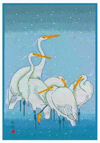 Japanese Artist Ohara Shoson's  5 Heron Birds in the Rain Counted Cross Stitch Pattern