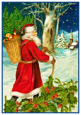 Father Christmas St. Nick Santa From Antique Card Counted Cross Stitch Pattern DIGITAL DOWNLOAD