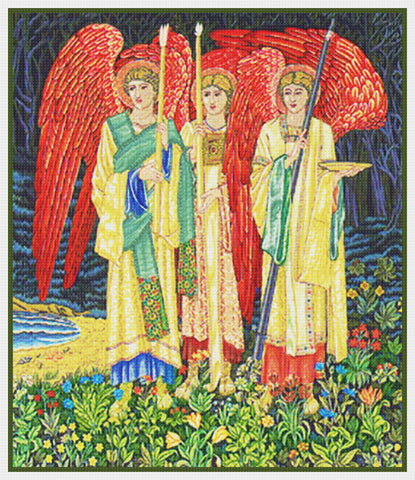 Holy Grail Angels Detail by Arts and Crafts Movement Founder William Morris Counted Cross Stitch Pattern DIGITAL DOWNLOAD