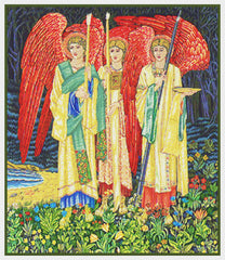 Holy Grail Angels Detail by Arts and Crafts Movement Founder William Morris Counted Cross Stitch Pattern