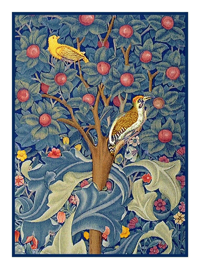 Woodpecker on Tree of Life detail by Arts and Crafts Movement Founder William Morris Counted Cross Stitch Chart