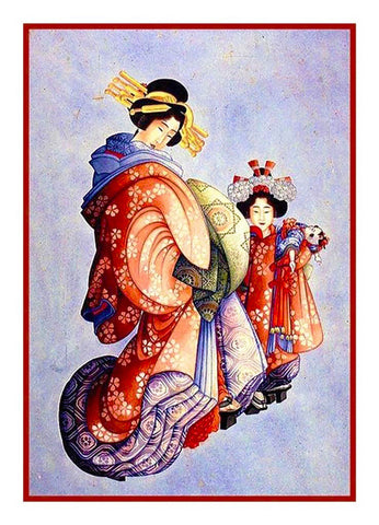 Japanese Hokusai Asian Kimono Girls Counted Cross Stitch Chart Pattern