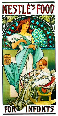 Nestle Infant Ad  by Alphonse Mucha Counted Cross Stitch Pattern
