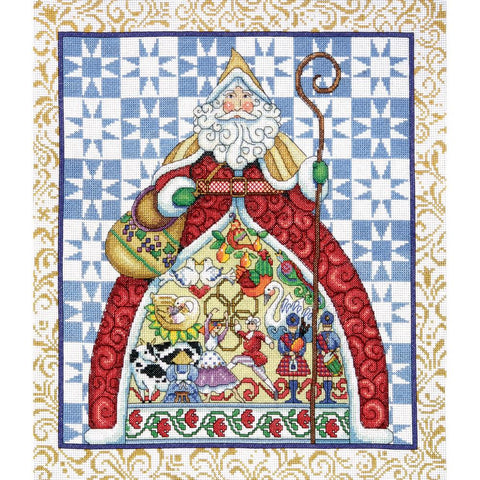 12 Days of Christmas Santa by Jim Shore for Design Works Counted Cross Stitch Kit -Mill Hill