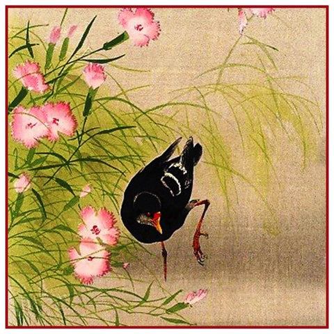 Japanese Artist Ohara Shoson's  Blackbird in Blossoms Counted Cross Stitch Pattern