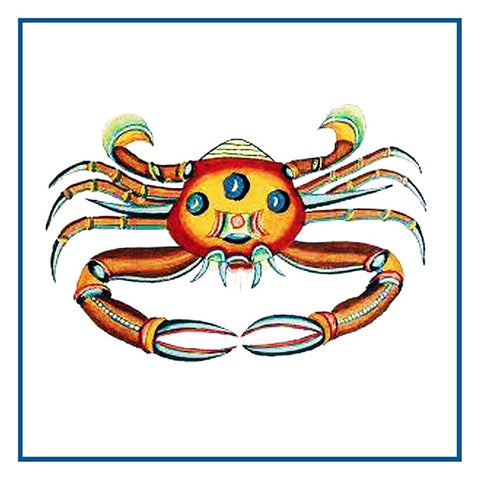 Fallours' Renard's Fantastic Colorful Tropical Crab 3 Counted Cross Stitch or Counted Needlepoint Pattern
