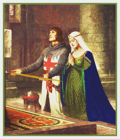 Medieval Knight Queen the Dedication inspired by Edmund Blair Leighton Counted Cross Stitch Pattern