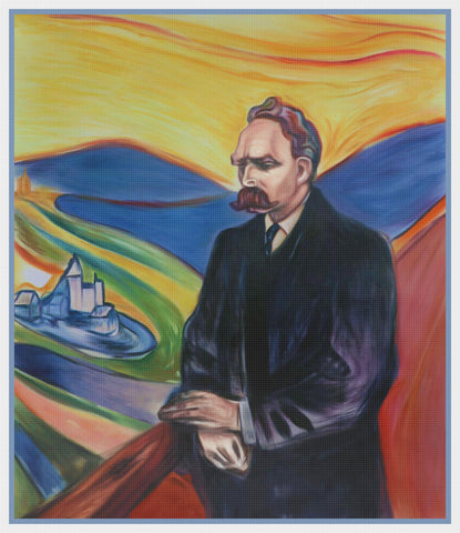 Friedrich Nietzsche by Symbolist Artist Edvard Munch Counted Cross Stitch Chart Pattern DIGITAL DOWNLOAD