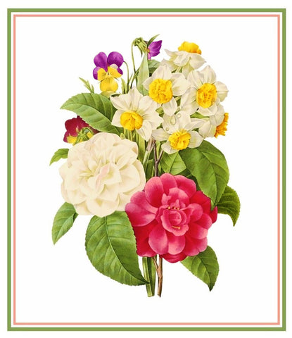 Spring Flower Bouquet Inspired by Pierre-Joseph Redoute Counted Cross Stitch Pattern