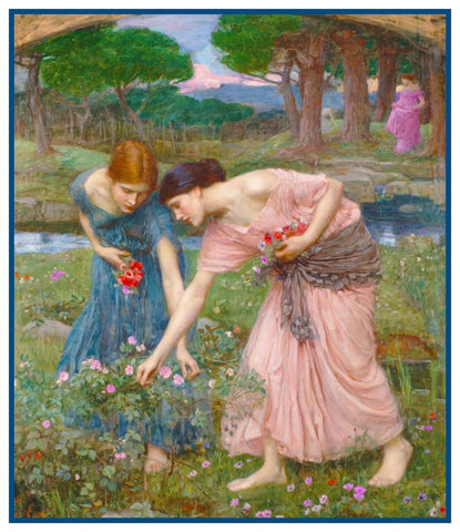 Gather Ye Rosebuds inspired by John William Waterhouse Counted Cross Stitch Pattern DIGITAL DOWNLOAD