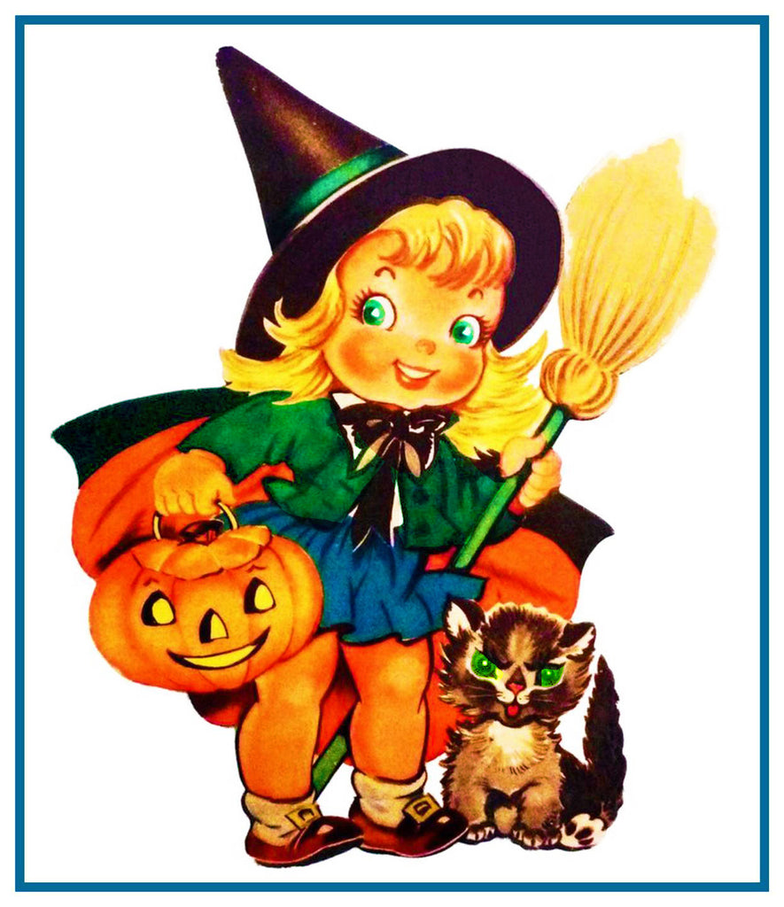 Halloween Little Witch Pumpkin Counted Cross Stitch or Counted Needlepoint Pattern