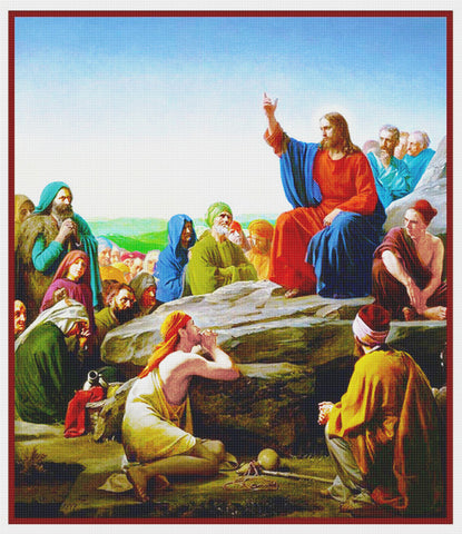 Jesus Sermon on the Mount by Carl Heinrich Bloch Counted Cross Stitch Pattern