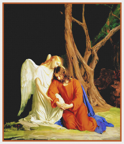 Jesus Praying With an Angel Gesthemane Religion by Bloch Counted Cross Stitch Pattern DIGITAL DOWNLOAD