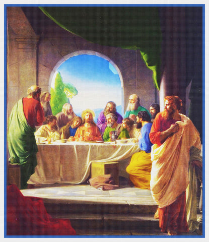 Last Supper of Christ -by Danish Artist Bloch Counted Cross Stitch Chart Pattern