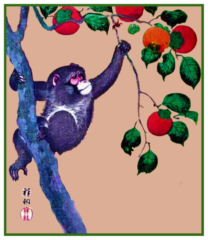 Japanese Artist Ohara Shoson's  Monkey in a Persimmon Tree Counted Cross Stitch Pattern DIGITAL DOWNLOAD