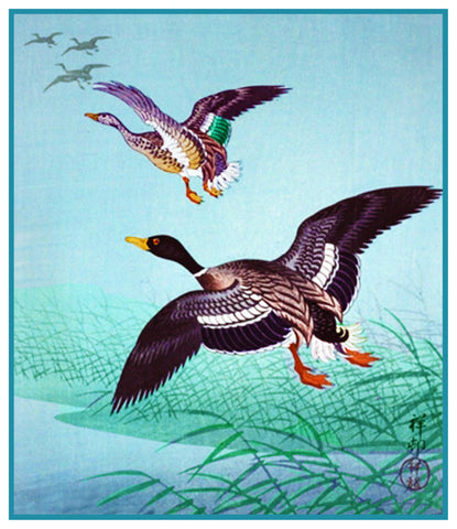 Japanese Artist Ohara Shoson's Birds Wild Geese in Flight Counted Cross Stitch Pattern