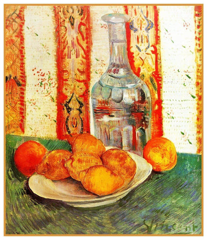 Decanter Lemons Still Life by Vincent Van Gogh Counted Cross Stitch Pattern