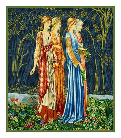 The Muses detail from The Ceremony by Arts and Crafts Edward Burne-Jones and William Morris Counted Cross Stitch Pattern