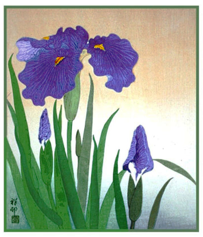 Japanese Artist Ohara Shoson's Iris Flowers in Bloom Counted Cross Stitch Pattern
