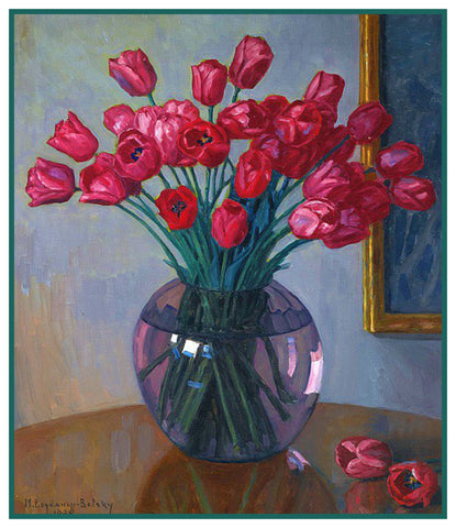 Still Life Tulips Vase By Nikolay Bogdanov-Belsky Counted Cross Stitch Pattern