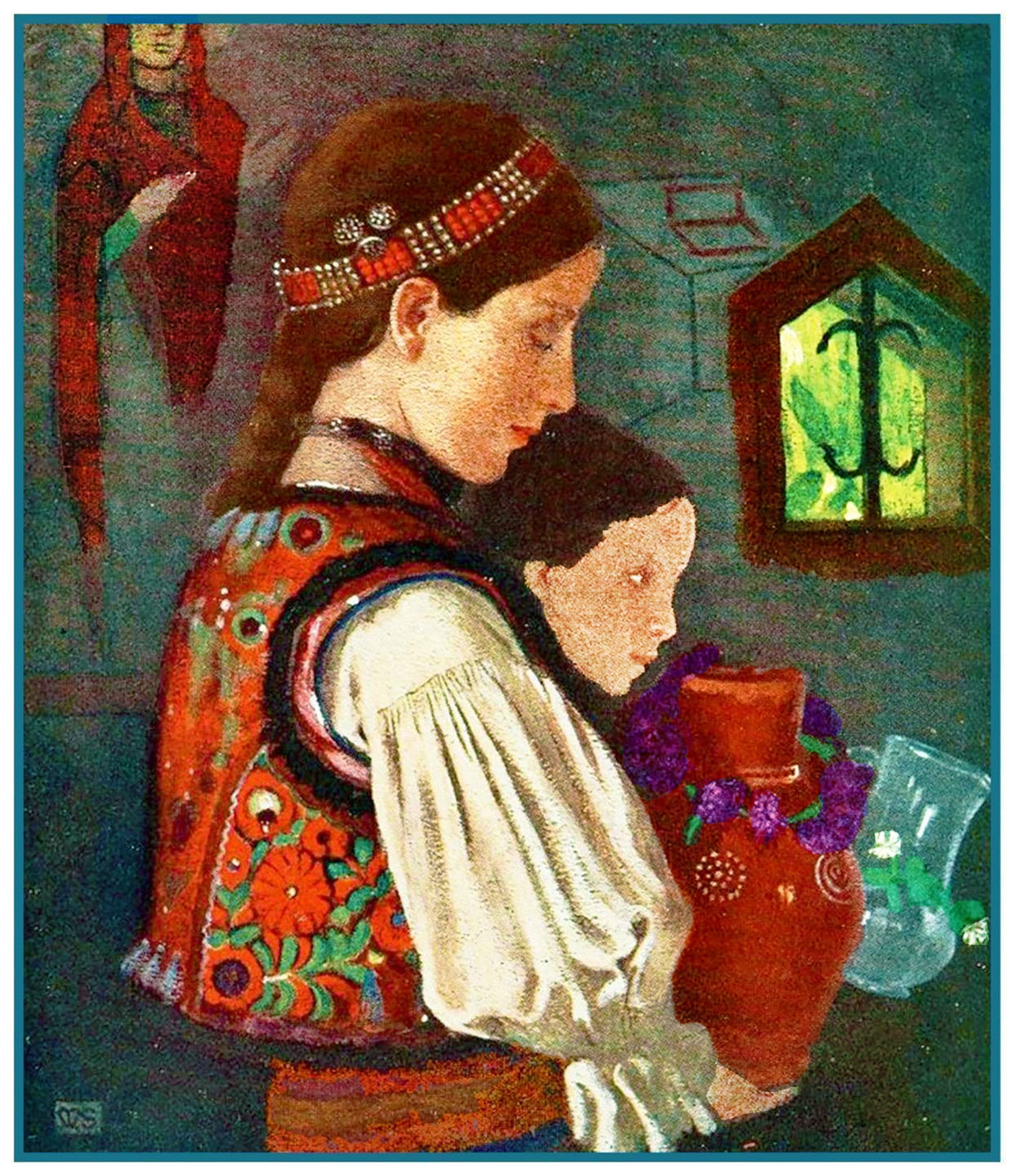 Romanian Children Bringing Water by Marianne Stokes Counted Cross Stitch Pattern