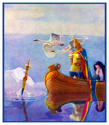 N.C. Wyeth King Arthur his Sword Excalibur Counted Cross Stitching Chart Pattern