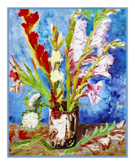 Vase of Red and White Gladioli inspired by Vincent Van Gogh's Painting Counted Cross Stitch Pattern
