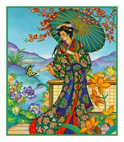 Japanese Artist Hokusai Asian The Lady #2 Counted Cross Stitch Chart Pattern