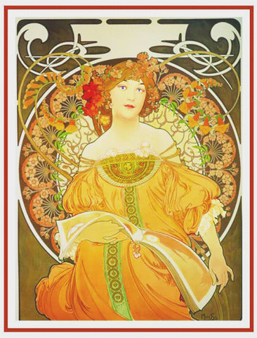 Autumn Reverie by Alphonse Mucha Counted Cross Stitch Pattern DIGITAL DOWNLOAD