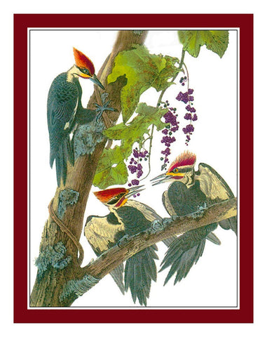 Pileated Woodpeckers Bird Illustration by John James Audubon Counted Cross Stitch Pattern