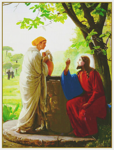 Carl Bloch's Jesus Christ Woman at the Well Counted Cross Stitch Chart Pattern