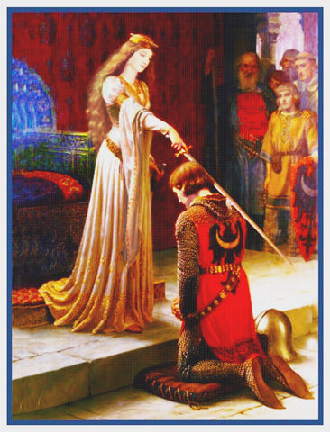 Medieval Accolade Knight Sword inspired by Edmund Blair Leighton Counted Cross Stitch Pattern
