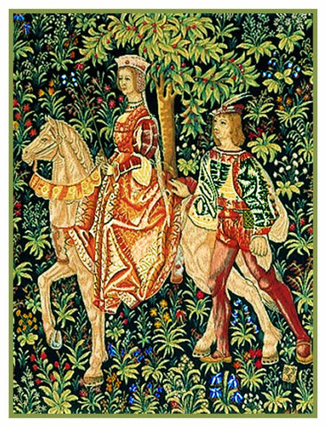 Noble Lady Horseback From a  Medieval Tapestry Counted Cross Stitch Pattern