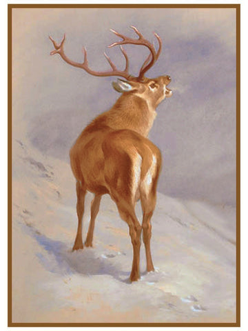 Red Deer Roaring by Naturalist Archibald Thorburn's Animal Counted Cross Stitch or Counted Needlepoint Pattern