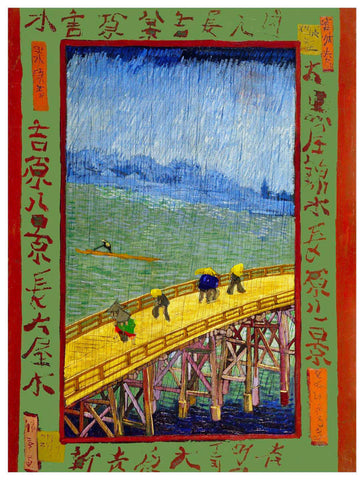 Bridge in Rain Tribute to Hiroshige by Vincent Van Gogh Counted Cross Stitch Pattern