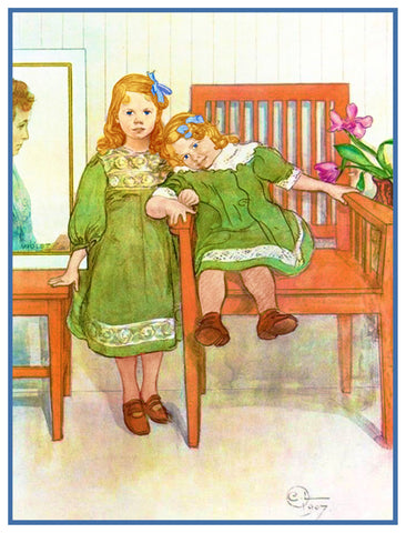 Mini and Essi by Swedish Artist Carl Larsson Counted Cross Stitch Pattern
