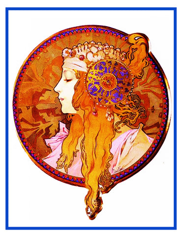 Byzantine Blond by Alphonse Mucha Counted Cross Stitch Pattern