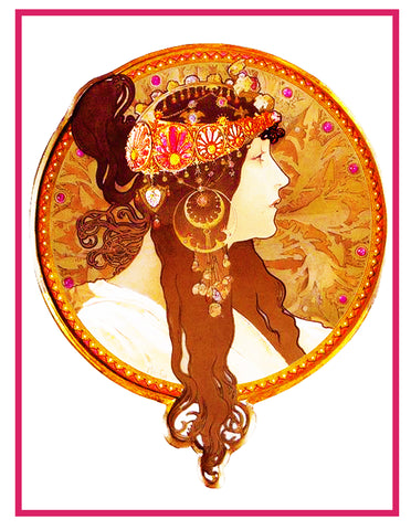 Byzantine Brunette by Alphonse Mucha Counted Cross Stitch Pattern