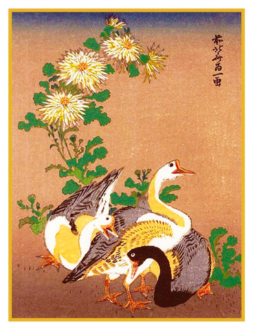 Japanese Hokusai Geese Chrysanthemums Counted Cross Stitch Chart Pattern
