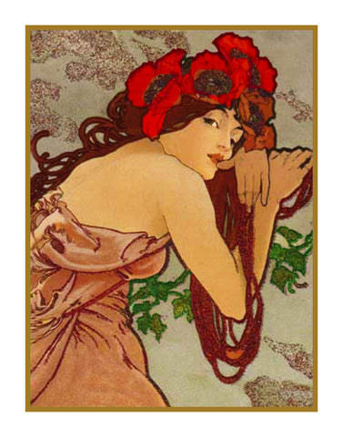 Summer by Alphonse Mucha Counted Cross Stitch Pattern