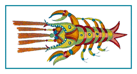 Fallours' Renard's Fantastic Colorful Tropical Spiny Lobster Counted Cross Stitch or Counted Needlepoint Pattern