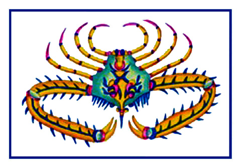Fallours' Renard's Fantastic Colorful Tropical Crab 2 Counted Cross Stitch or Counted Needlepoint Pattern