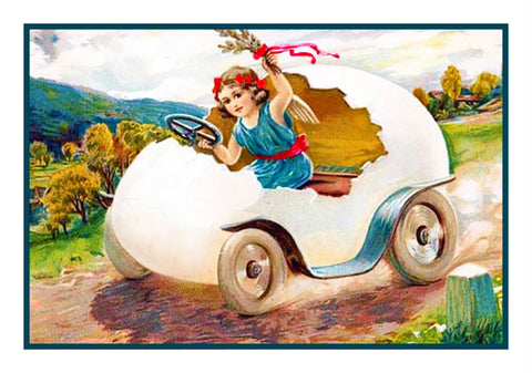 Vintage EasterYoung Girl in Her Egg Buggy Counted Cross Stitch Pattern
