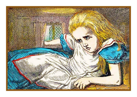Tenniel Alice Hiding Alice in Wonderland Counted Cross Stitch Chart Pattern